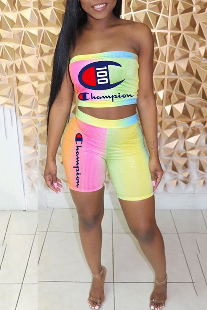 Tie Dye Letter Strapless Two Piece Sets