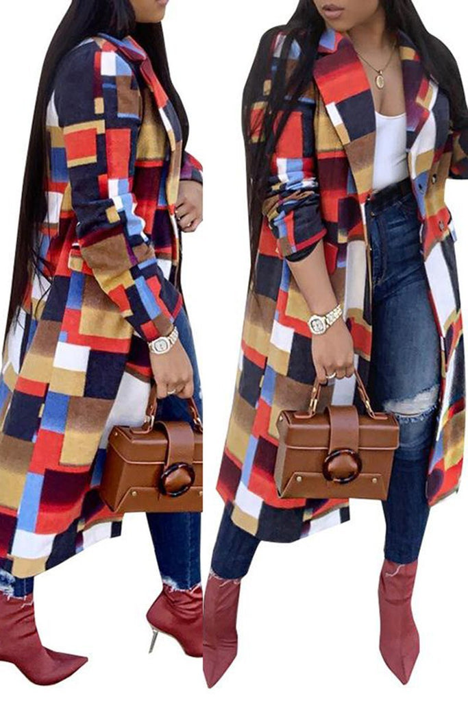 Colorful Lattice Print Turndown Collar Coat