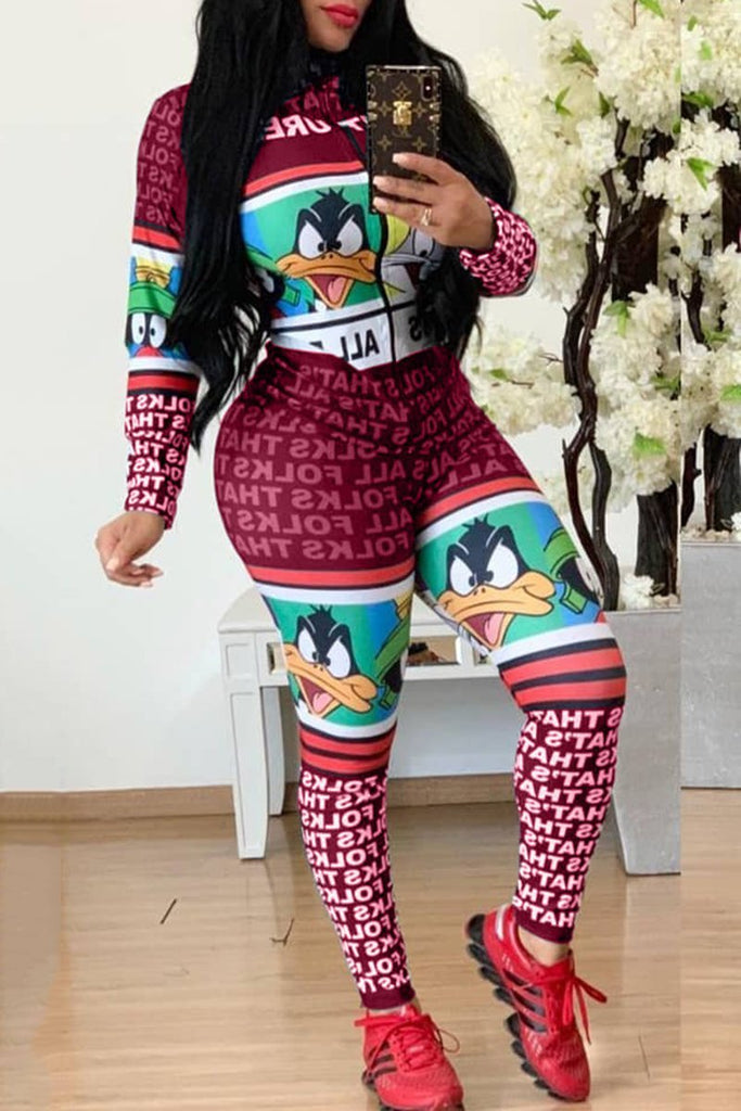 Plus Size Cartoon Print Zipper Up Jumpsuit