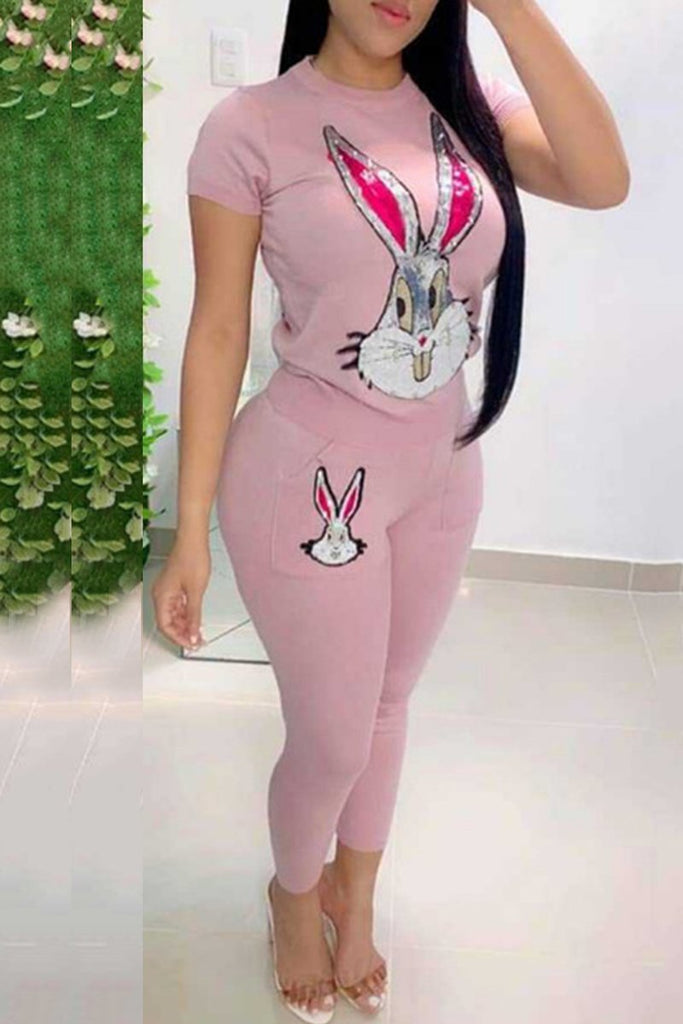 Cartoon Appliques Pocket Two Piece Sets
