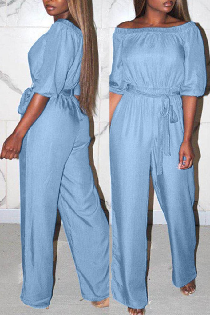 Off The Shoulder Drawstring Waist Jumpsuit