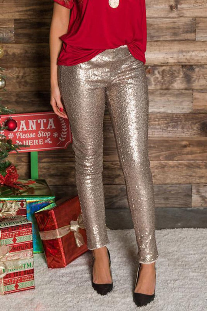 Christmas Sequined Solid Color Pencil Pants