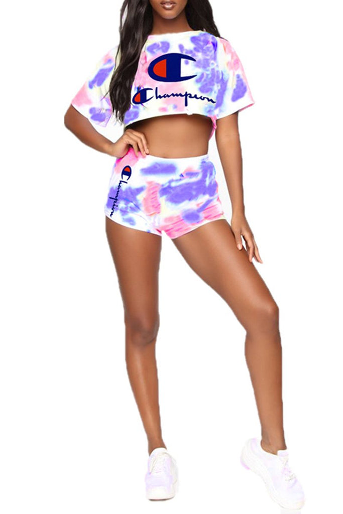Letter Print High Waist Tie Dye Top & Shorts