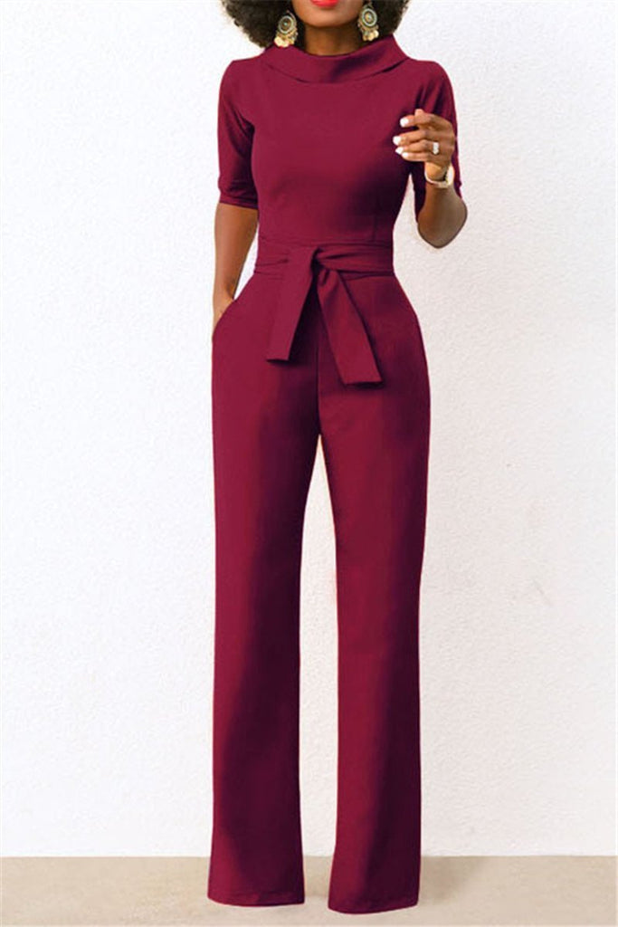 Solid Color Half Sleeve Wide Legged Jumpsuit