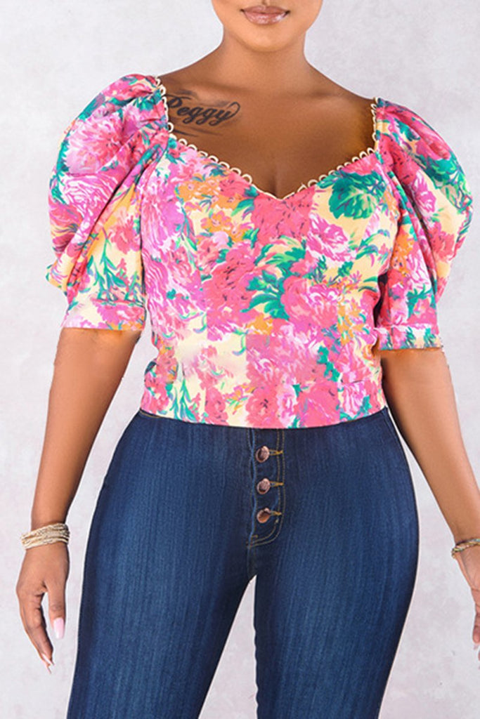 Lantern Sleeve Floral Casual Blouse