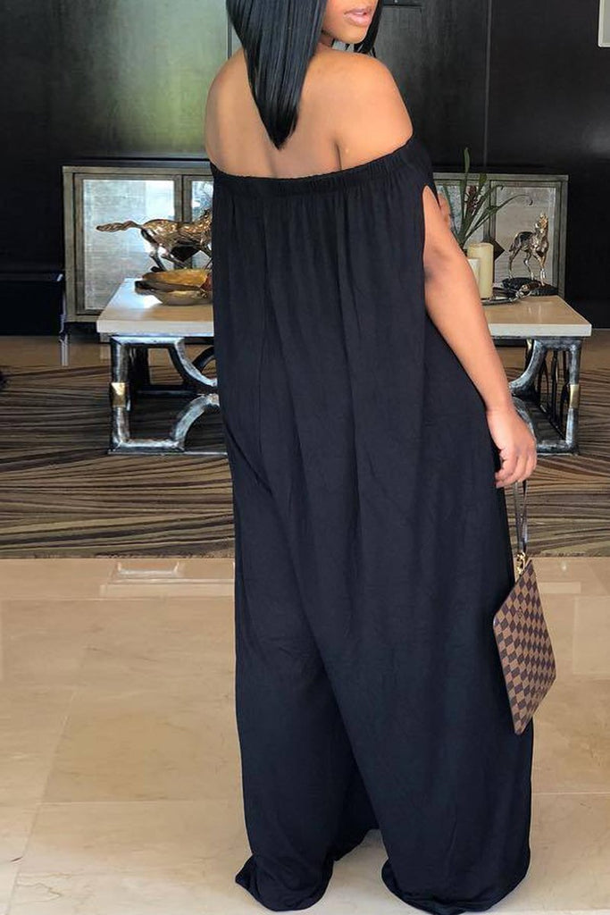 Plus Size Solid Color Off The Shoulder Casual Jumpsuit