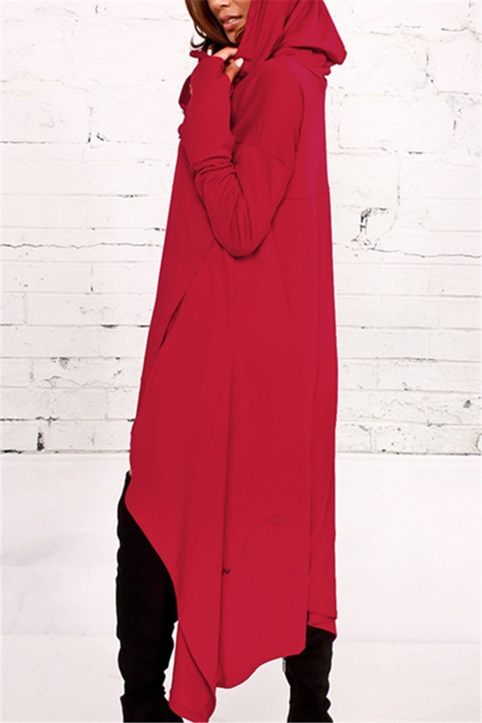 Asymmetric Hem Hooded Dress Top - URBANSHE21