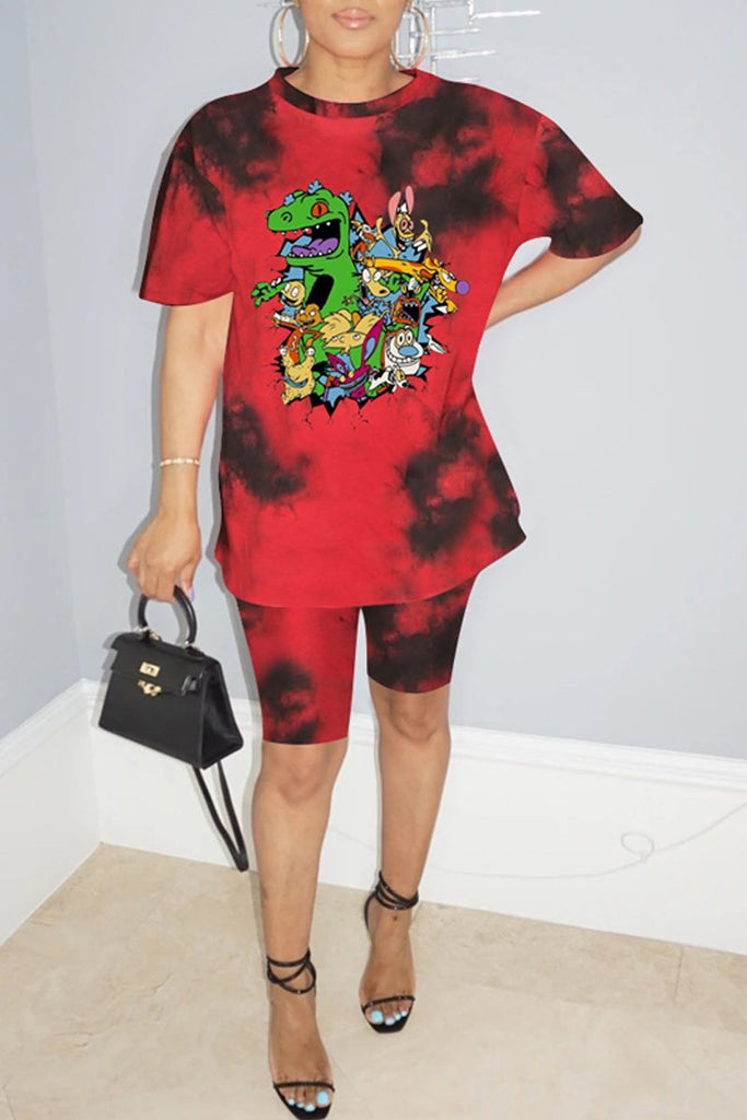 Plus Size Cartoon Print Tie Dye Top & Shorts