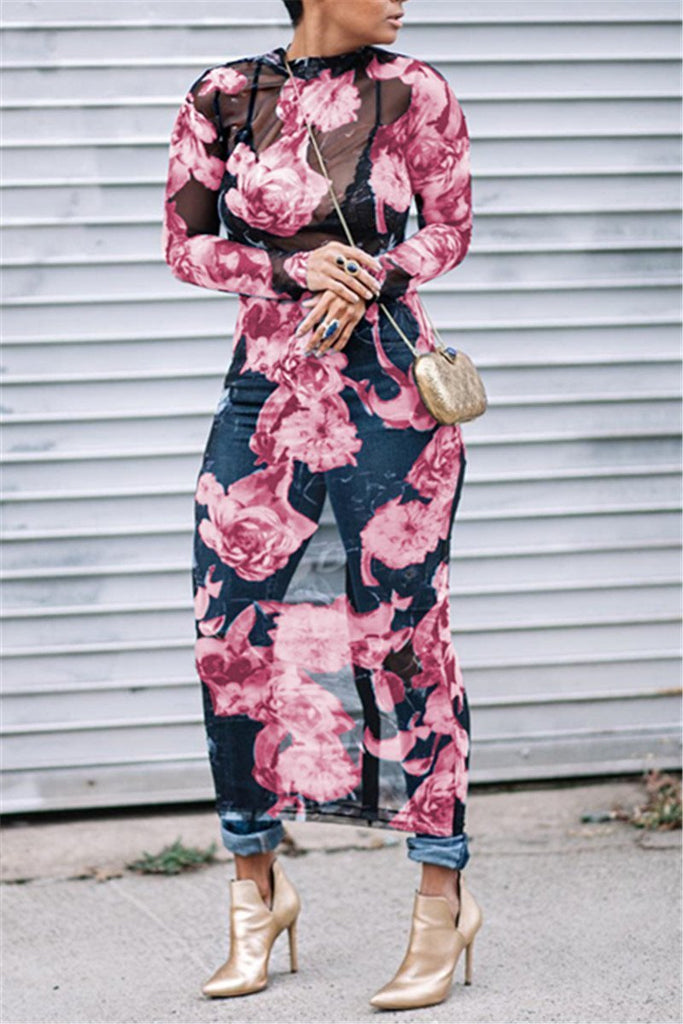 Floral Print  Long Sleeve Maxi Dress - URBANSHE21