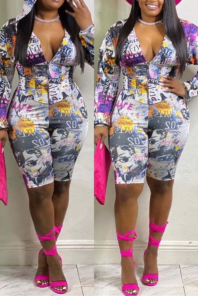 Graffiti Print Zipper Up Hooded Two Piece Sets