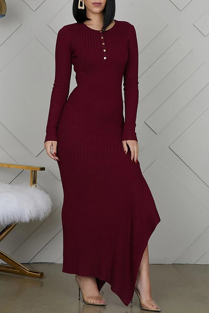 Solid Color Asymmetric Hem Party Maxi Dress