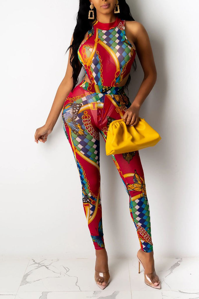 Digital Print Sleeveless Romper & Pants
