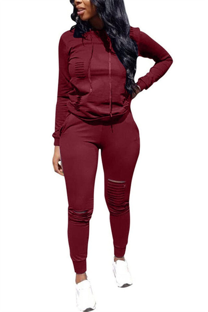 Distressed Hooded Collar Long Sleeve Casual Top & Pants - URBANSHE21