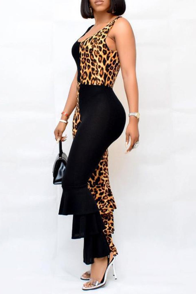 Leopard Patchwork Sleeveless Ruffled Jumpsuit