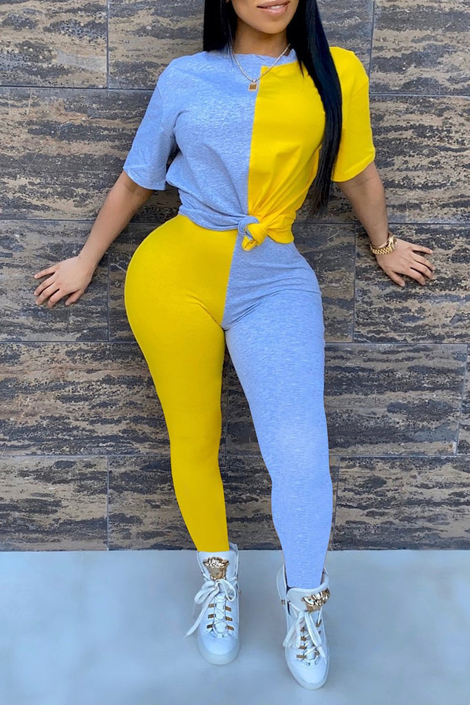Short Sleeve Mixed Color Two Piece Sets