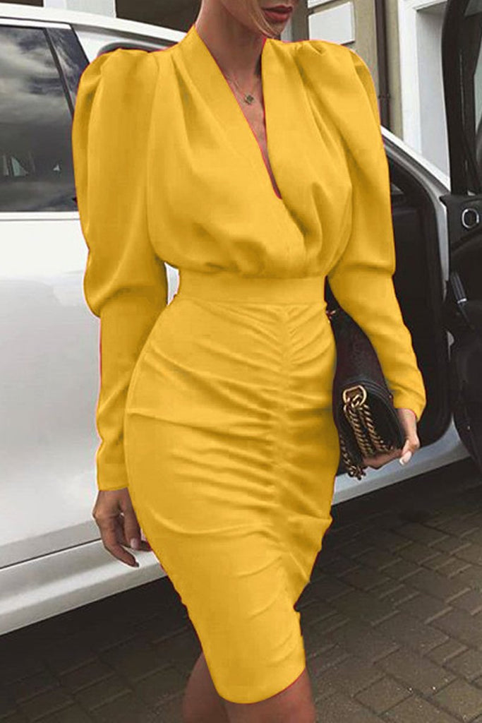 Deep V Neck Ruffle Lantern Sleeve Midi Dress