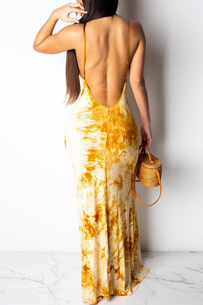 Casual Sleeveless Open Back V Neck Printed Maxi Dress