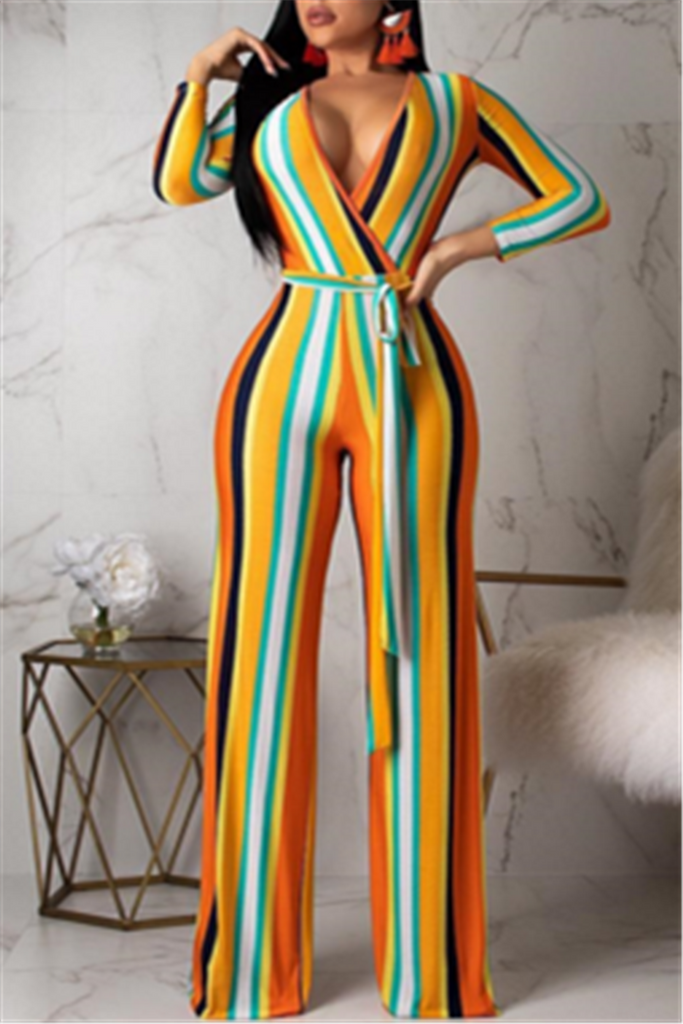 V Neck Long Sleeve Striped Jumpsuit With Belt