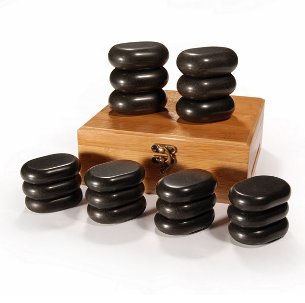 MT Massage - 18 Pieces Mini Basic Body Massage Hot Stone Set Black Lava - Superb Massage Tables