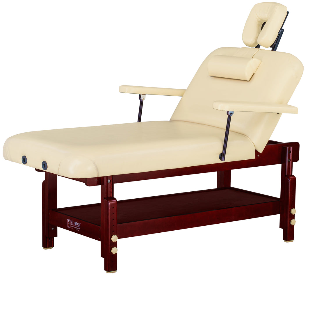 Master Massage - SpaMaster Stationary Salon Top Massage Table with Lift Back - Superb Massage Tables