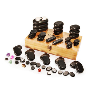 MT Massage -  60 Piece Deluxe Hot Stone Massage Set Black Lava - Superb Massage Tables