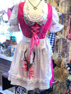 Krüger Madl Dirndl Pink with White Polka Dots(Skirt 50cm)Size 40 • In-Stock