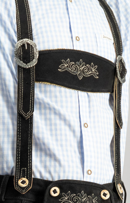 StockerPoint Men's Lederhosen BEPPO2 - H-Straps Black Sold Out