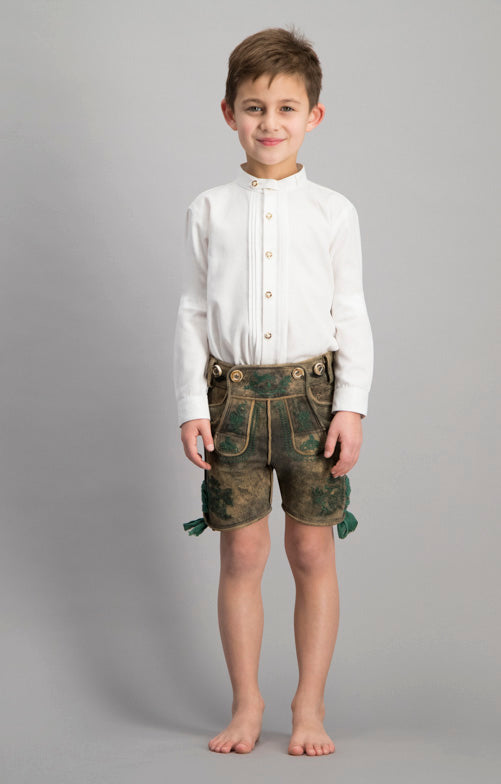 Stockerpoint Trachten Kids Lederhosen CHARLY Old Tan with H-straps short