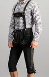 StockerPoint Men's Lederhosen Justin2 Wildbock H-straps Black