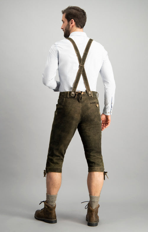 StockerPoint Men's Lederhosen Justin3 Wildbock H-Straps Bison