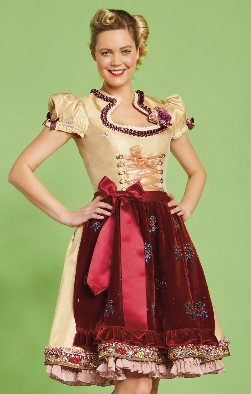 Lola Paltinger Mini Dirndl 2 Pieces 50 cm ALIDA Gold Burgundy Size 36 IN-STOCK