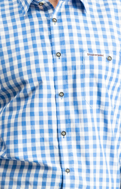 "Traditional Bavarian ""Mitchel"" Long Sleeve Blue/Grey/Pink Shirt"