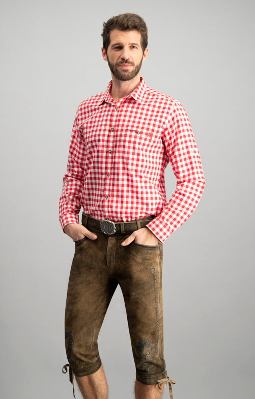 "Traditional Bavarian ""Mitchel"" Long Sleeve Red Shirt"