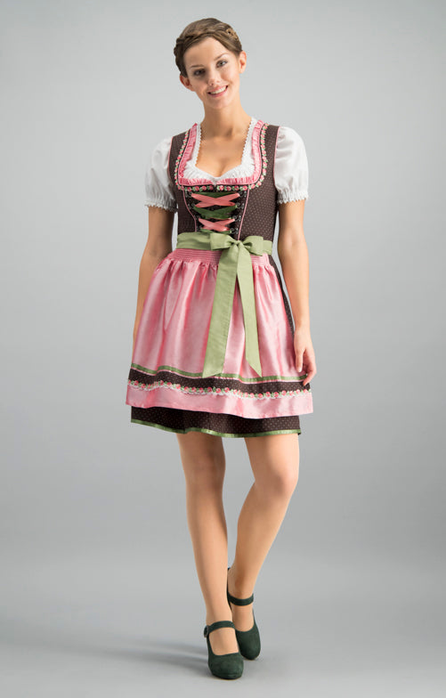 Stockerpoint Mini Dirndl 2pcs. 50cm PATTY Brown-Rose Size 42 In-Stock