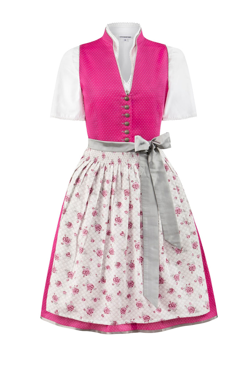 Stockerpoint Midi Dirndl 2pcs. 60cm RIKA Pink Grau Size 36 In-Stock