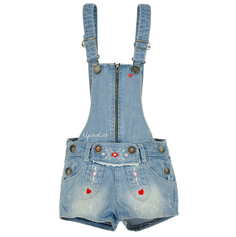 Girls Trachten Latzshort Blue Denim