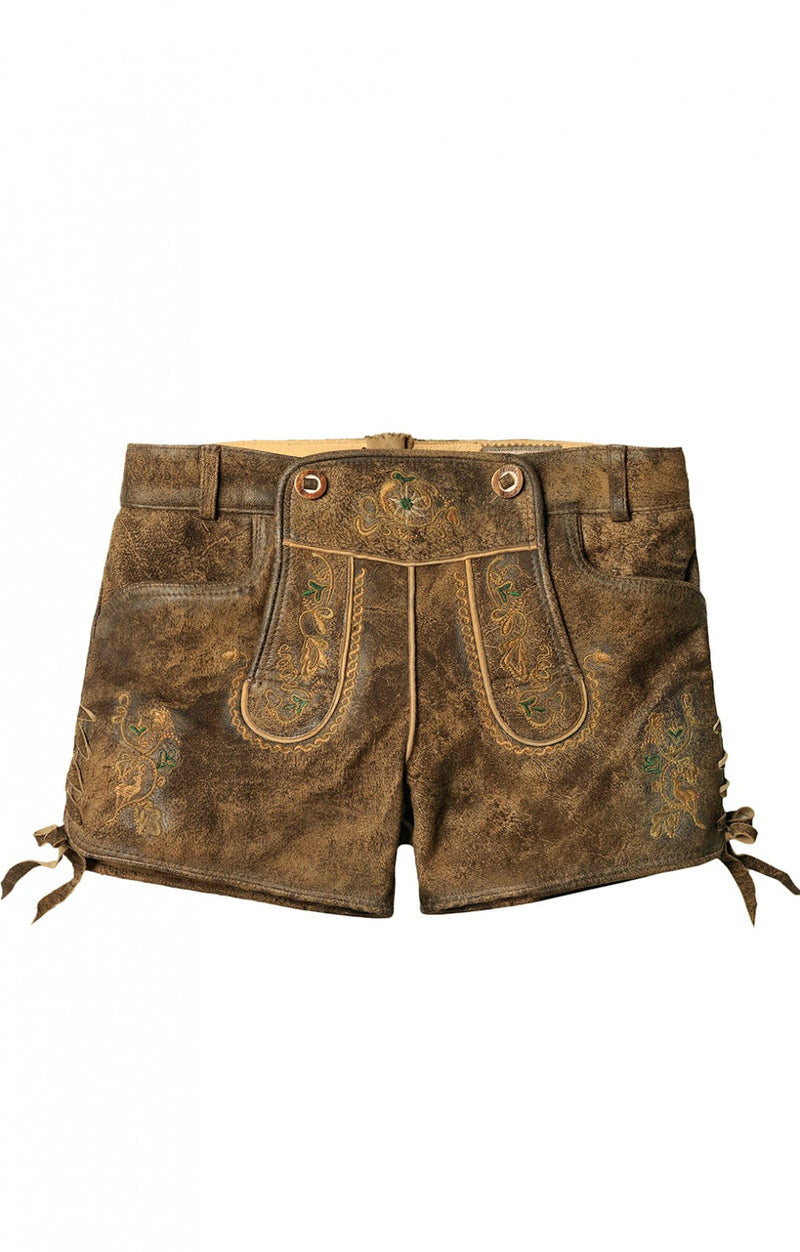 Woman's Lederhosen Short XENIA Havanna Antique Yellow Size 38