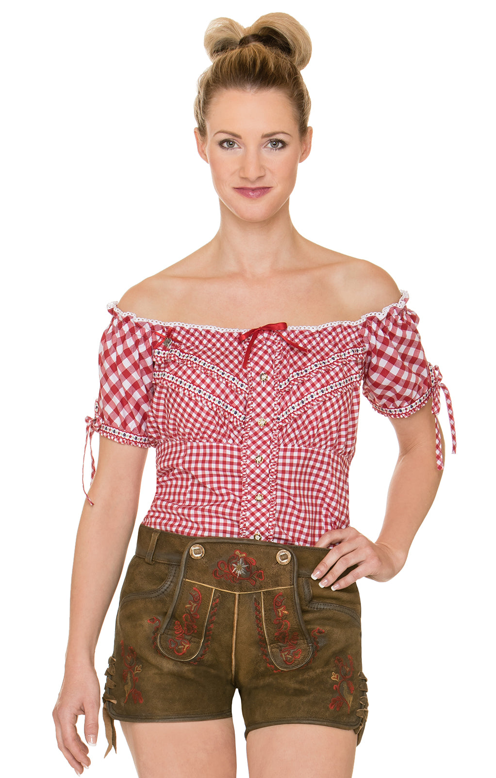 Woman's Lederhosen Short XENIA Havanna Antique Red Size 38
