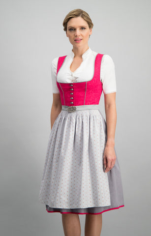 Dirndline Dirndl: Romantic Dirndl with Denim Apron Size 42 In Stock