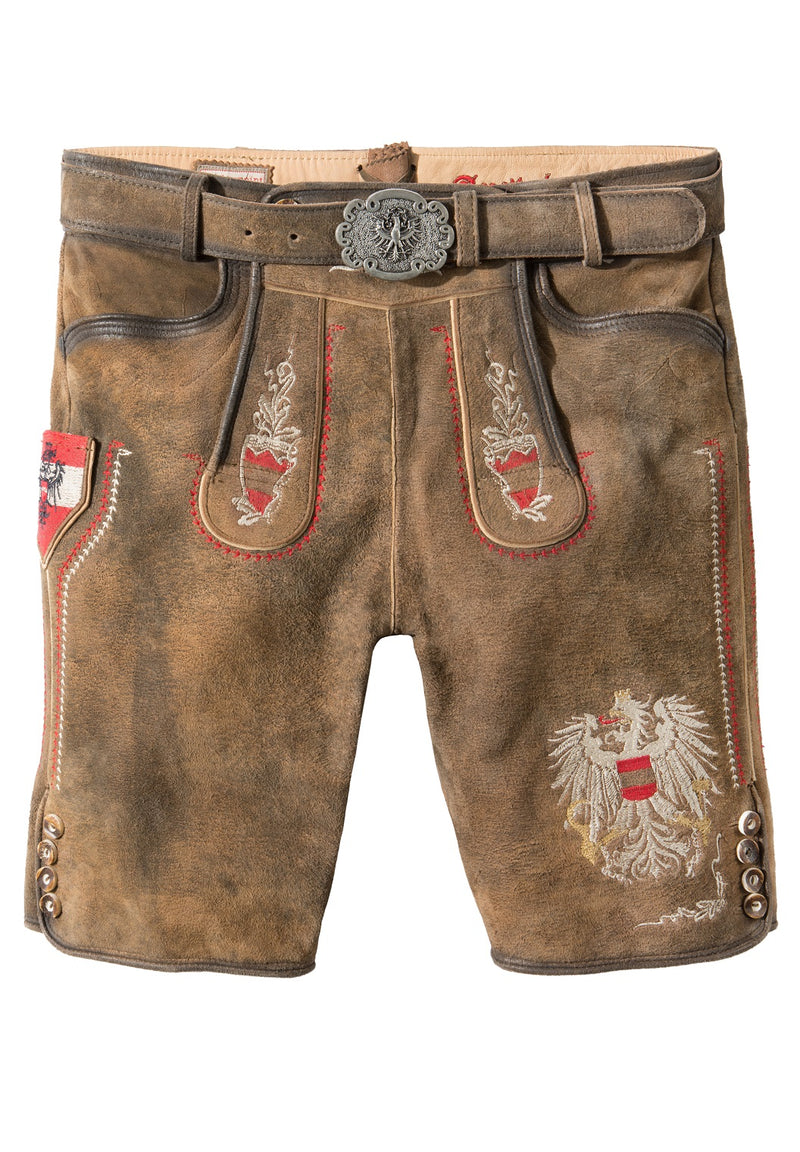 StockerPoint Men's Lederhosen AUSTRIA BUA with Belt • EU  Size 48,50,52,54,56 • In-Stock