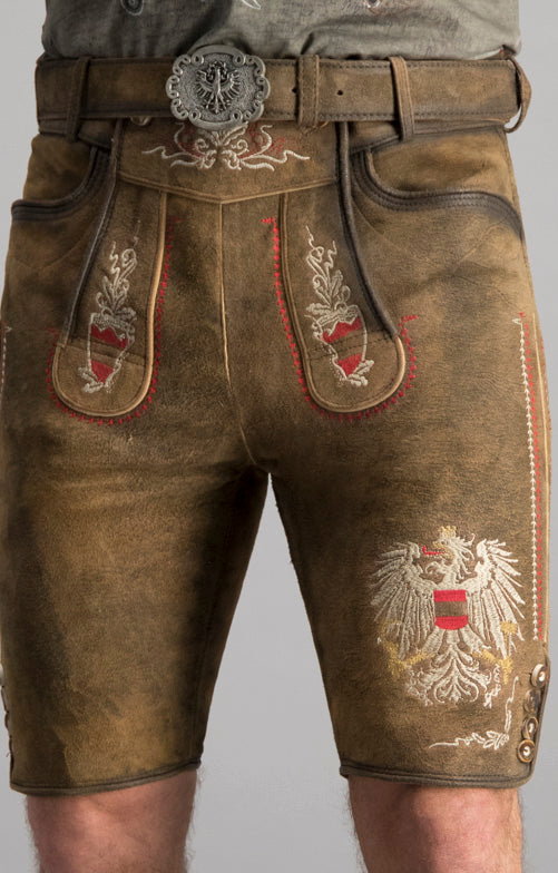 StockerPoint Men's Lederhosen AUSTRIA BUA with Belt Size EU54