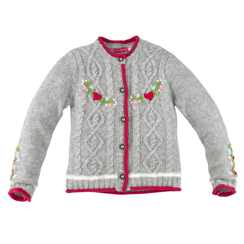 Girls Sweater Blumenbordure Grey