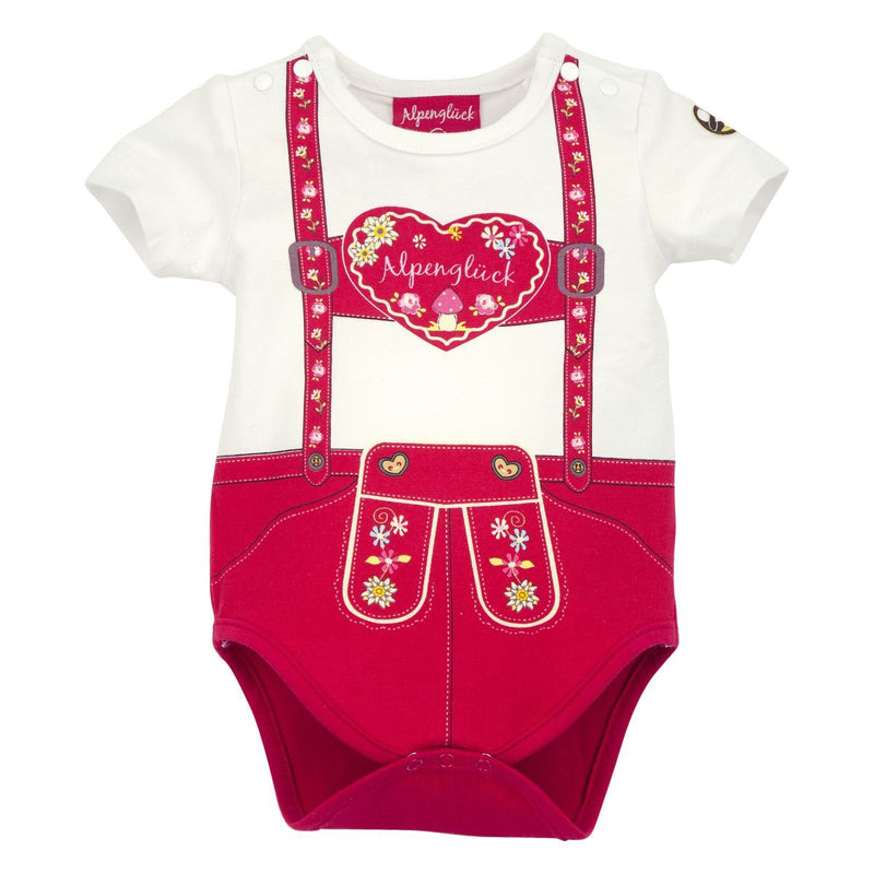 Baby Onesie Suspenders Heart Red