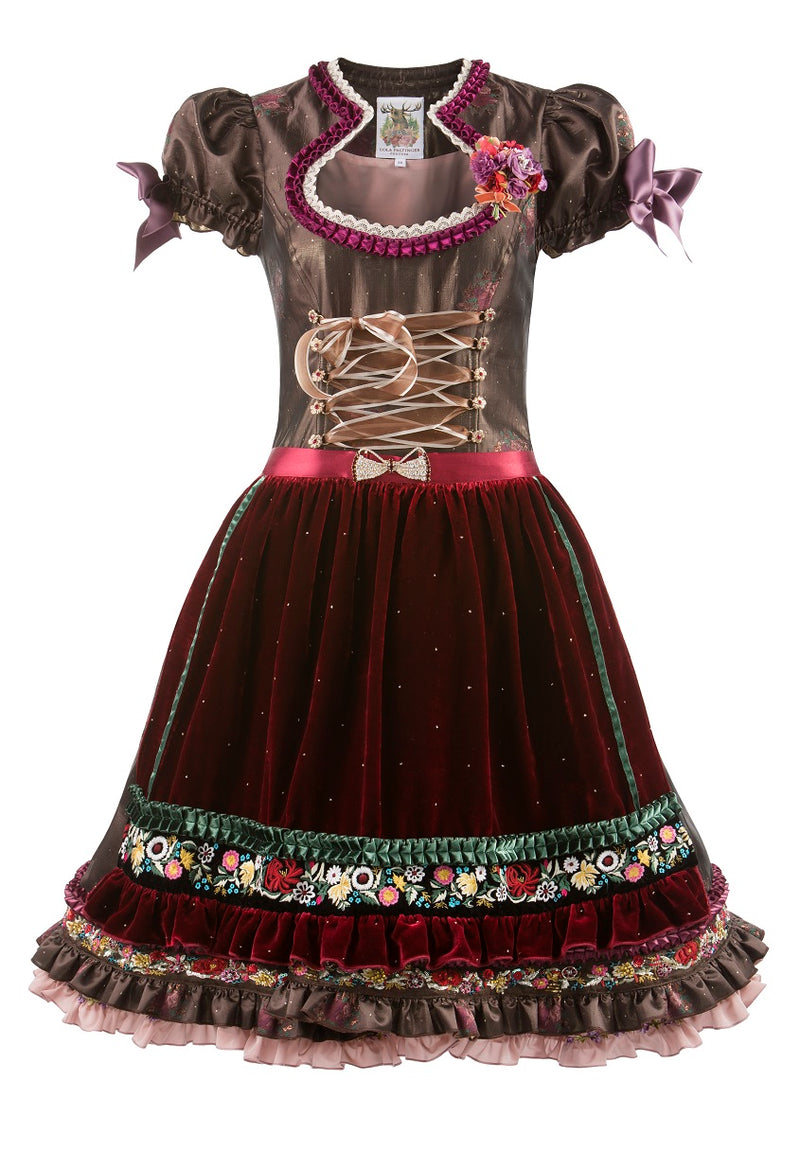Lola Paltinger Mini Dirndl 2 Pieces 60 cm SHARON Nougat Burgundy Size 36 & 38 In-Stock