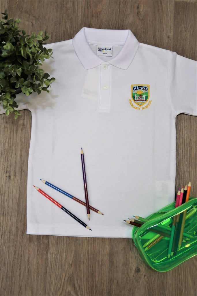 Clwyd Primary White Unisex Polo Shirt
