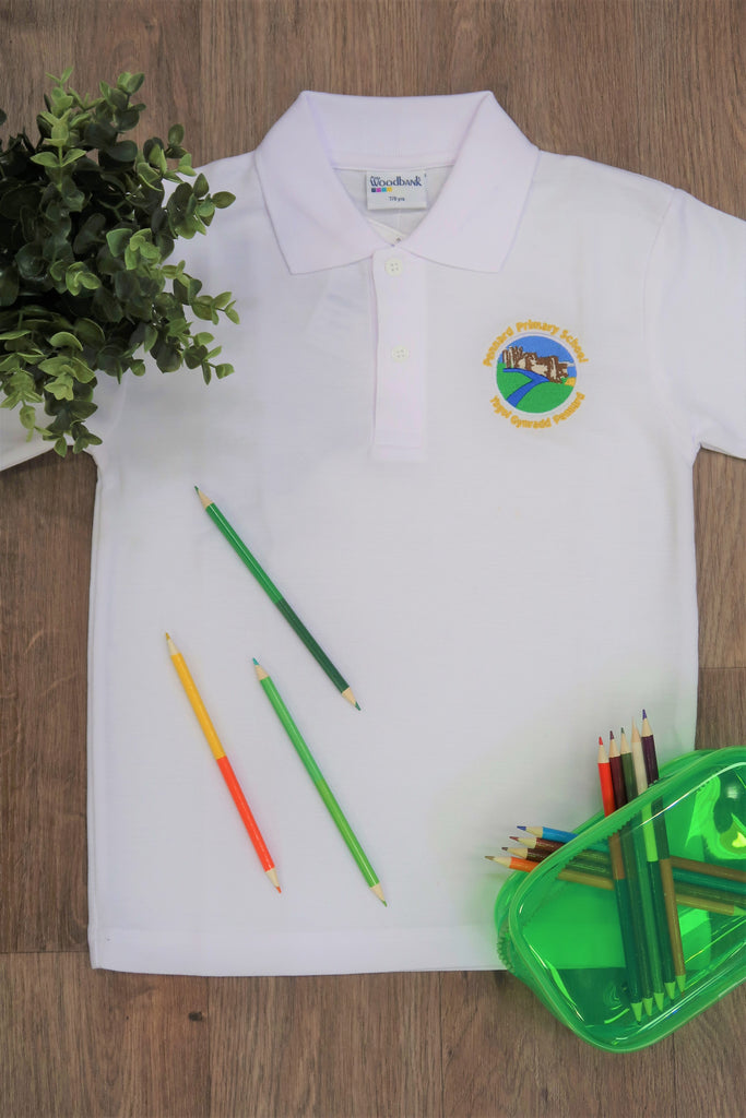 Pennard Primary Unisex White Polo Shirt