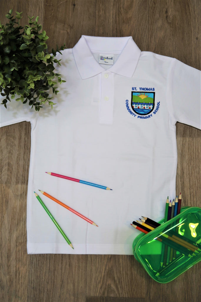 St Thomas Primary Unisex White Polo Shirt