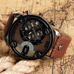 New Military Quartz Watch Man Big Face Wristwatch Date Display