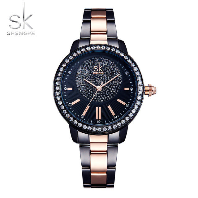 Shengke Rose Gold Watch Women Quartz Watches Ladies