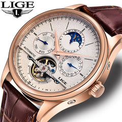 LIGE Brand Classic Mens Retro Watches Automatic Mechanical